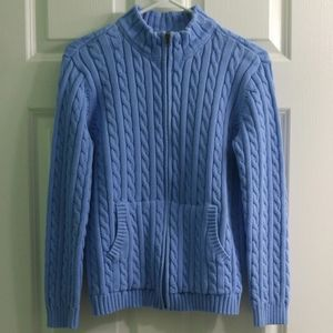 L.L.Bean Full Zip Cable Knit Cardigan Sweater Blue